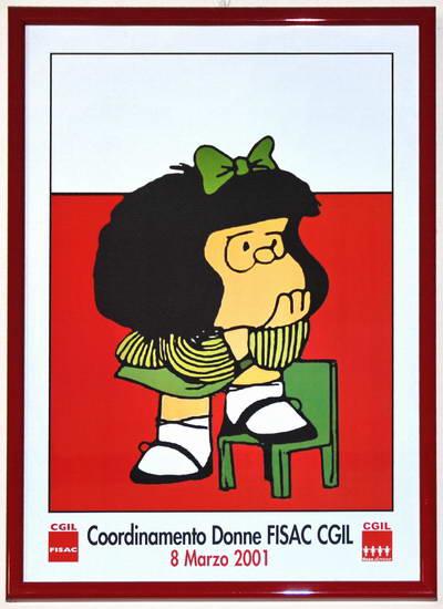 Questa fotografia mostra il quadro che si trova nella sede FISAC di via Pietro Micca 17 - Mafalda è un personaggio di Quino