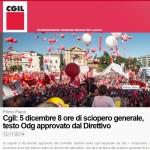 Cgil: 5 dicembre 8 ore di sciopero generale