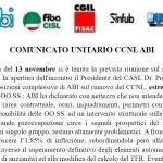 CCNL ABI: comunicato unitario