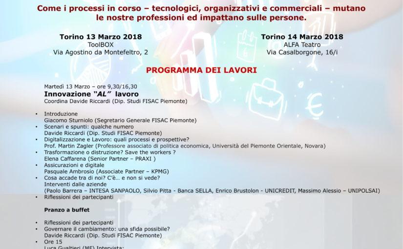 """Seminario Fisac Piemonte del 13 e 14 marzo """"BANCHE ED ASSICURAZIONI: L'INNOVAZIONE E IL GOVERNO DEL CAMBIAMENTO"""""""