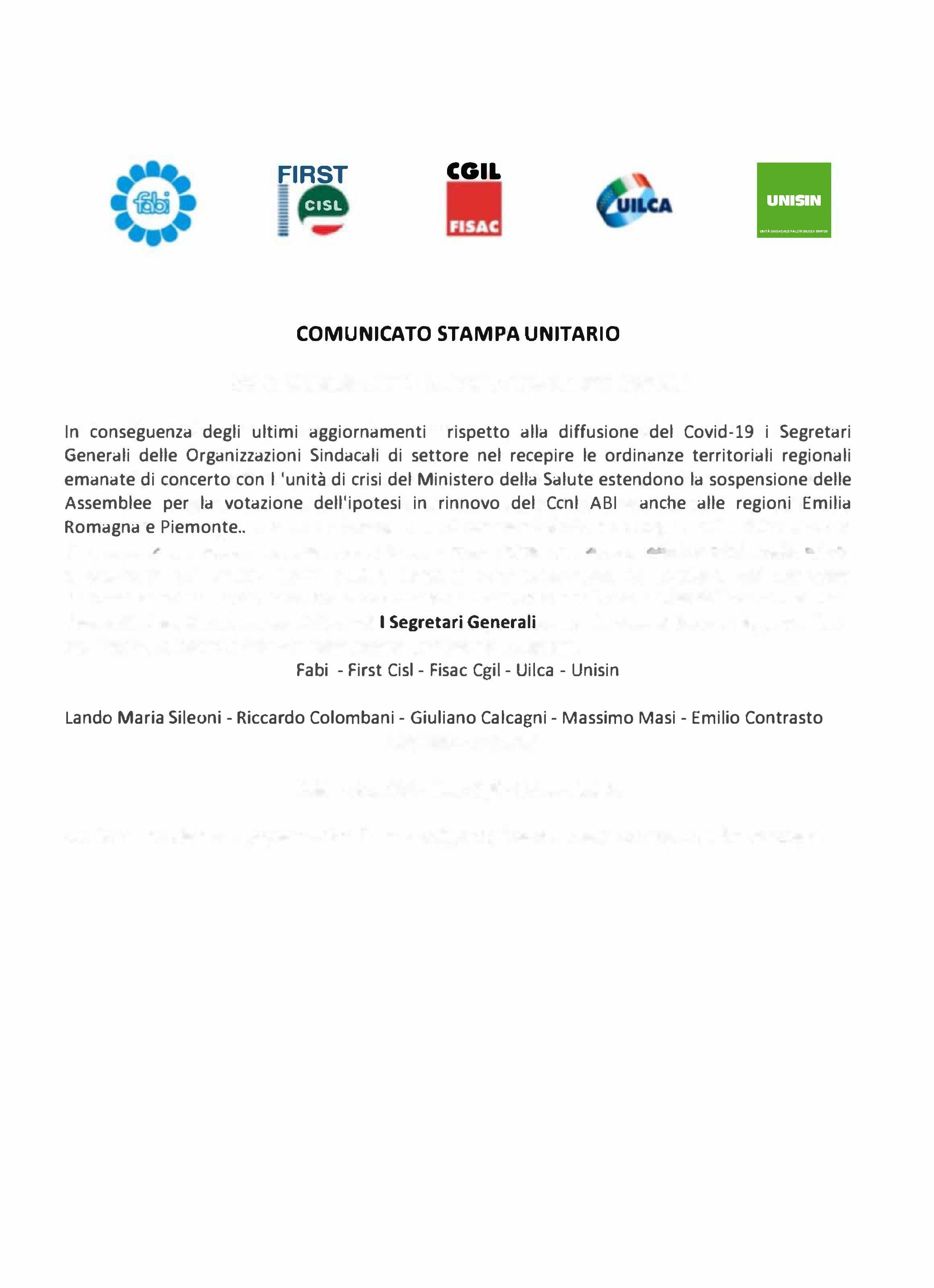 AGGIORNAMENTO EMERGENZA CORONAVIRUS: SOSPENSIONE ASSEMBLEE
